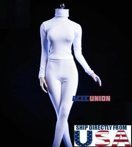 1 6 Female Turtleneck Stretch Slim Top Pants Set WHITE For 12quot; PHICEN Figure USA $22.99
