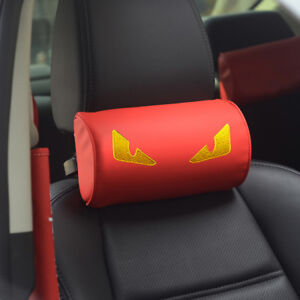 Red Car Seat Head Neck Rest Embroidery Foam Pillow Leather Cushion Pad Headrest