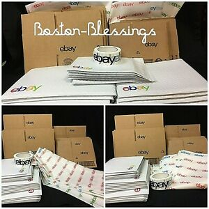 Ebay Branded Shipping Supplies Kit Large Lot Boxes Padded Envelopes Tape Tissue