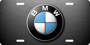 Bmw Vehicle Front License Plate Auto Tag Printed Black Brushed Aluminum 0108