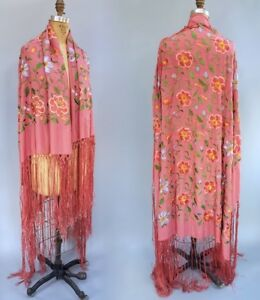Antique Vintage Embroidered Pink Silk Piano Shawl Scarf W Long Fringe Wearable