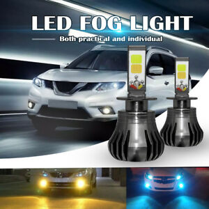 H3 Led Fog Light Drl Driving Bulb 80w 9600lm Yellow White Dual Color 6000k Pair