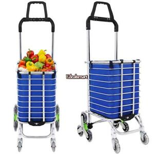 Folding Cart Utility Shopping Cart Stair Climb Rolling Cart Trolley 8wheels 02