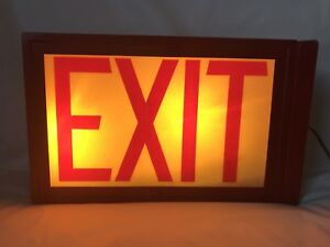 Vintage Exit Light Sign Metal Box Working Rare 13x8 Traffic Control Safety