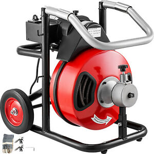 100ft X 1 2 Drain Cleaner 400w Drain Cleaning Machine Snake Sewer Clog W cutter
