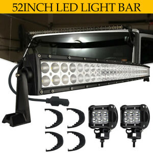 Curved Dual row 52 Inch 700w Led Work Strip Light Bar White Lamps Utv Atv 50