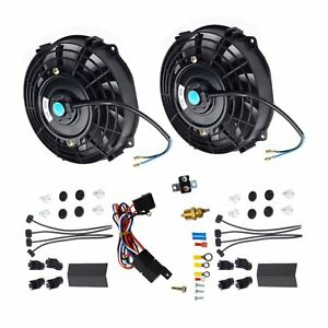 2pcs 7 Bk Electric Radiator Cooling Fan thermostat Relay Install Kits Black