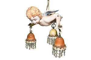 Adorable Italian Cherub Chandelier Porcelain 1940 50 S