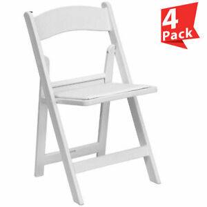 4 White Resin Folding Chairs Vinyl Padded Detachable Seat Commercial Party Chair