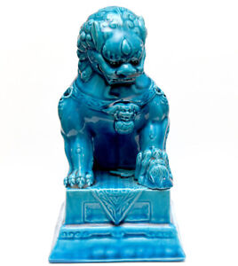 Antique Chinese Turquois Foo Dog Lion Statue