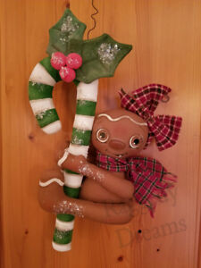 Handmade Large Primitive Gingerbread Girl Candy Cane Christmas Ornament