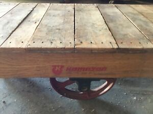 Antique Hamilton Wood Industrial Railroad Factory Cart Coffee Table Illinois