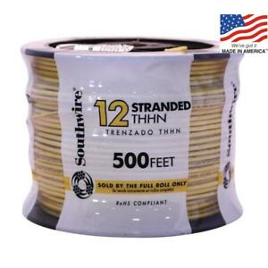 Southwire 22969058 500 ft 12 awg Stranded Yellow Copper Thhn Wire By roll New
