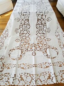 Antique Linen Elaborate Tablecloth W Satin Stitch Embroidery Cutwork Florals