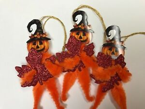 Chenille Halloween Ornaments Vintage Pumpkin Feather Tree Ornaments Tags