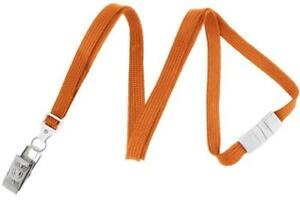 Orange 3 8 Flat Breakaway Lanyard With Nickel plated Steel Bulldog Clip 2137 60