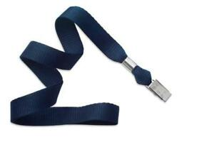Navy Blue 5 8 Lanyard With Nickel plated Steel Bulldog Clip 2136 3553