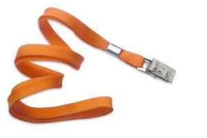 Orange 3 8 Flat Woven Lanyard Bulldog Clip 2135 3555