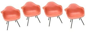 Authentic Herman Miller Eames Zenith Fiberglass Shell Chair Salmon Pink Orange