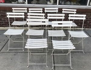 1930s Scotto Signed French Folding Garden Chairs Iron Slatted White Set Of 10