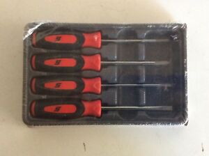 New Snap On 4 Pc Combination Mini Tip Soft Grip Red Screwdriver Set