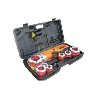 Portable 1 1 2 2 Electric Pipe Threader Threading Machine 6 Dies Free Shipping