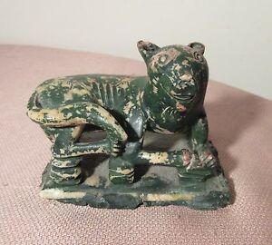 Antique Hand Carved Painted Chinese Soapstone Stone Statue Sculpture Animal