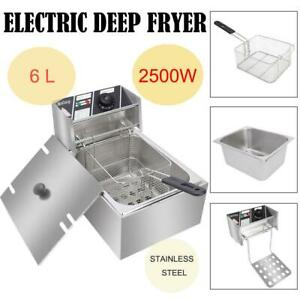 6 3 Qt Commercial Home Electric Deep Fryer Stainless Steel Frying Machine 2 5kw