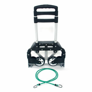 Us Black Portable Folding Collapsible Aluminum Cart Dolly Push Truck Trolley