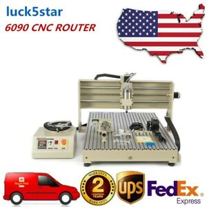 Usb 4 Axis 6090 Cnc Router Engraver Metal Drilling Milling Machine 1500w Er11