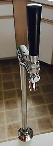 Beer Faucet Draft Single Tower Keg Polished Stainless Steel Tap Handle Kegerator