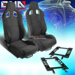 Pair Of Black Suede Reclinable Type r Racing Seat bracket Fit 79 98 Ford Mustang