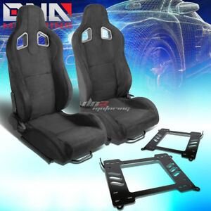 Pair Black Suede Type r Racing Seat bracket Fit 99 05 Bmw 3 series m3 E46 Coupe