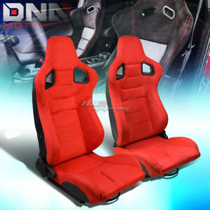 Red Reclinable Faux Suede Carbon Fiber Pattern Racing Seats W universal Slider