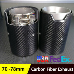 Glossy 2 7inch Clamp On Carbon Fiber Exhaust Tip Muffler Tail Pipe For Bmw 1pcs