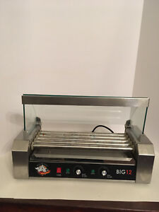 Roller Dog Big 12 Stainless Steel Hotdog Roller With Drip Tray And Glass Case