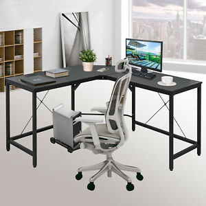 L shaped Corner Computer Desk Home Office Fan shaped Footrest Easy Install