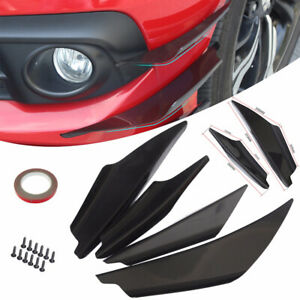 4x Car Black Abs Front Bumper Canards Splitter Fins Body Spoiler Universal New
