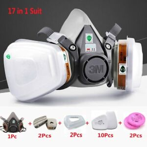 3m 6200 Half Face Painting Spraying Respirator Gas Mask 17 In 1 Safety Mask