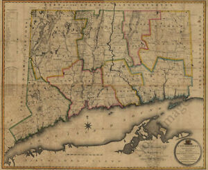 Map Of Connecticut C1813 Repro 30x24