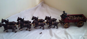 Antique Metal 8 Horses 2 Firemen 1 Dog Barrels Fire Truck Wagon 31 Figurine
