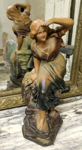 French Antique Art Nouveau Plaster Statue