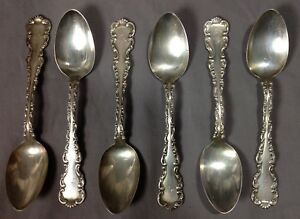 6 Antique 1891 Sterling Silver Vintage Teaspoons Spoons Whiting Louis Xv Mono L