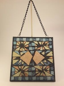 Vintage Stained Glass Home Window Decor 8 X 8 Inch