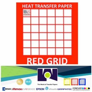 Inkjet Lite Red Grid Iron On Heat Transfer Sheets 11 X17 50 Sheets