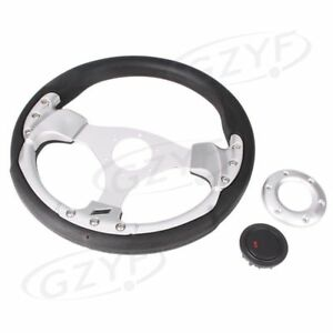 13 Universal Racing Steering Wheel Silver W Horn Button Leather P