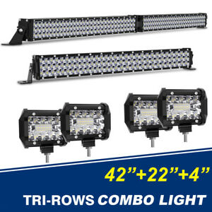 2x Single Rows Slim Led Light Bar 22inch 416w Spot Flood Combo For Ford Jeep 20