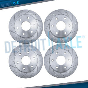 Front Rear Drilled Brake Rotors Chevy Sierra Silverado 1500 Tahoe Safari Yukon