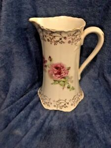 Vintage Sevres Victorian Themed White Gold Pitcher With Pink Mauve Roses France