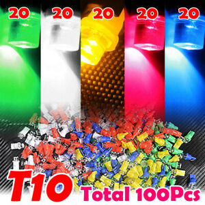 100x T10 194 168 W5w Car Led Light Lamp Bulb White Blue Yellow Green Red